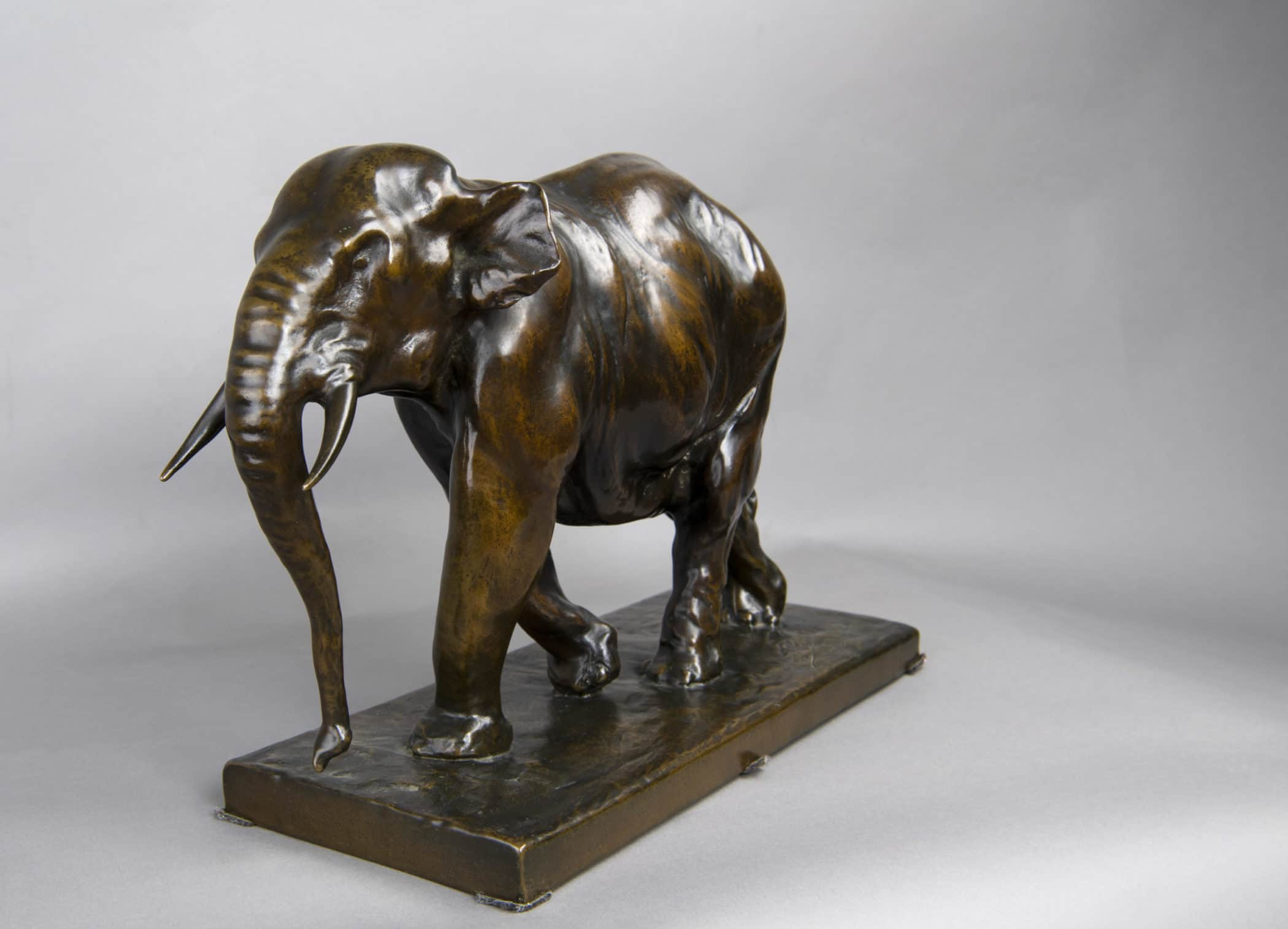 Elephant in bronze dated and signed Jean Gaspar.