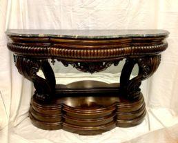 Console italienne en palissandre et marbre portor, XIXe siècle. Parfait état.
