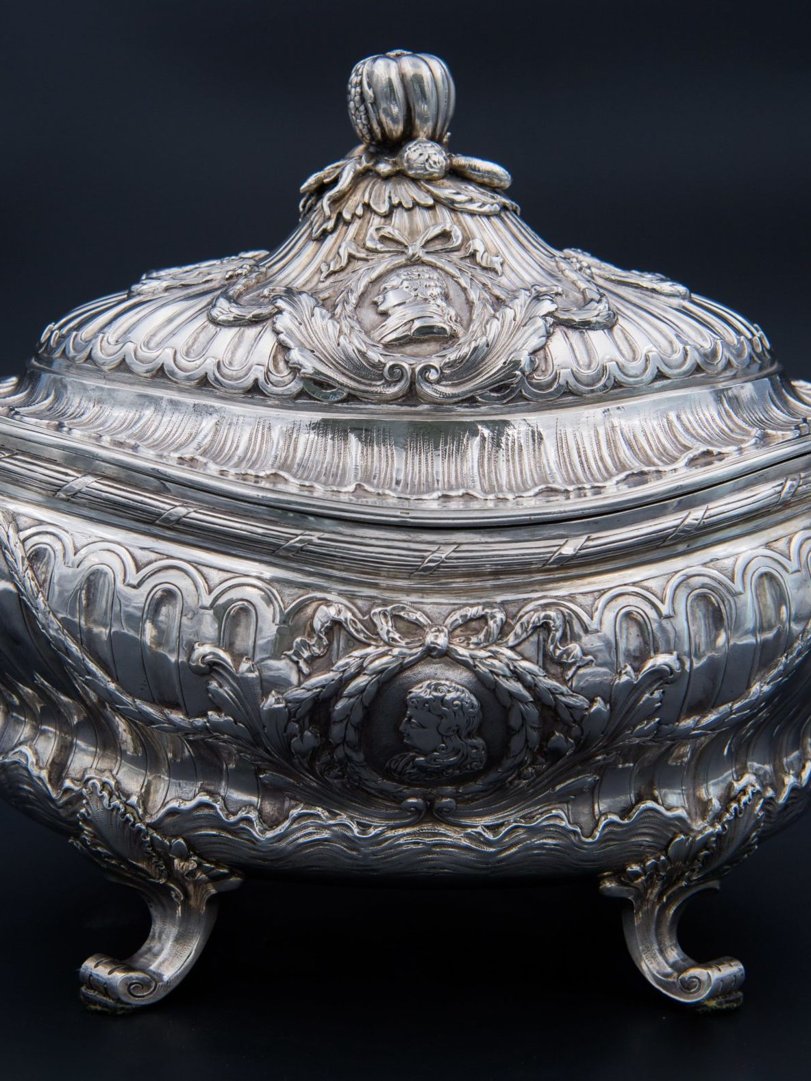 Solid silver vegetable dish, late 18th century.