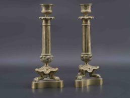 Bougeoirs en bronze doré, XIXe siècle