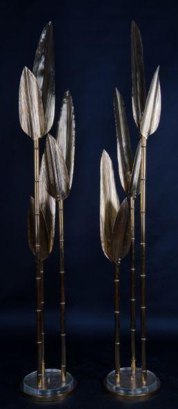 Lampadaire bambou vintage, XXe siècle.