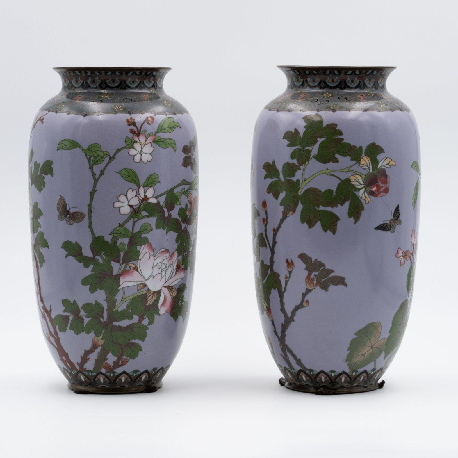 Paire de vases cloisonnés chinois, XIXe siècle