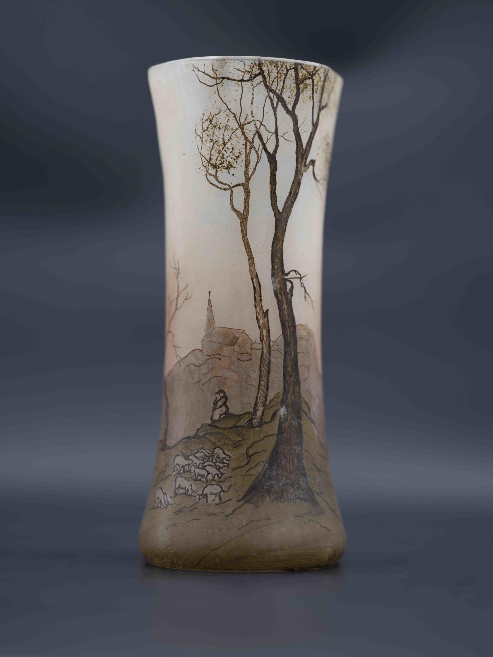 Vase signé François-Théodore Legras. Art Nouveau, fin XIXe siècle