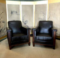 Paire de fauteuils club, XXe siècle