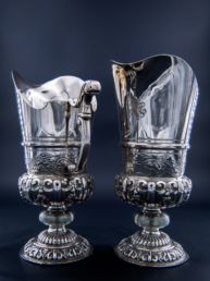 A pair of Silver Ewers by the Silversmith Mafteux (or Mattheux) de Chevannes, Second Empire (1851 - 1870)