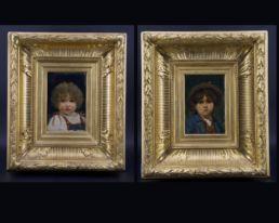 Paire d'huiles sur panneaux figurant des portraits d'enfants. Paris, XIXe siècle