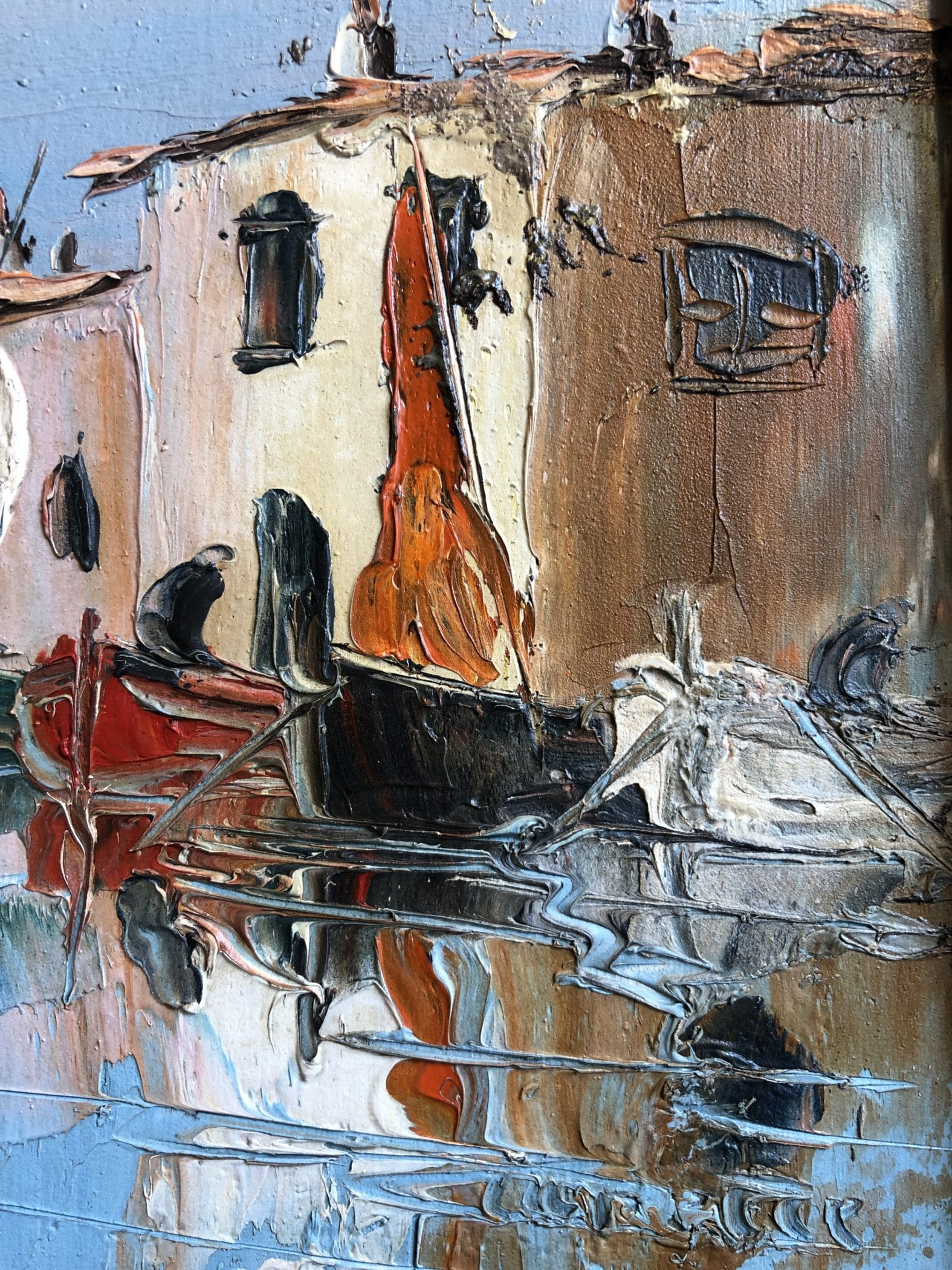 Marine. Huile sur panneau, XXe siècle