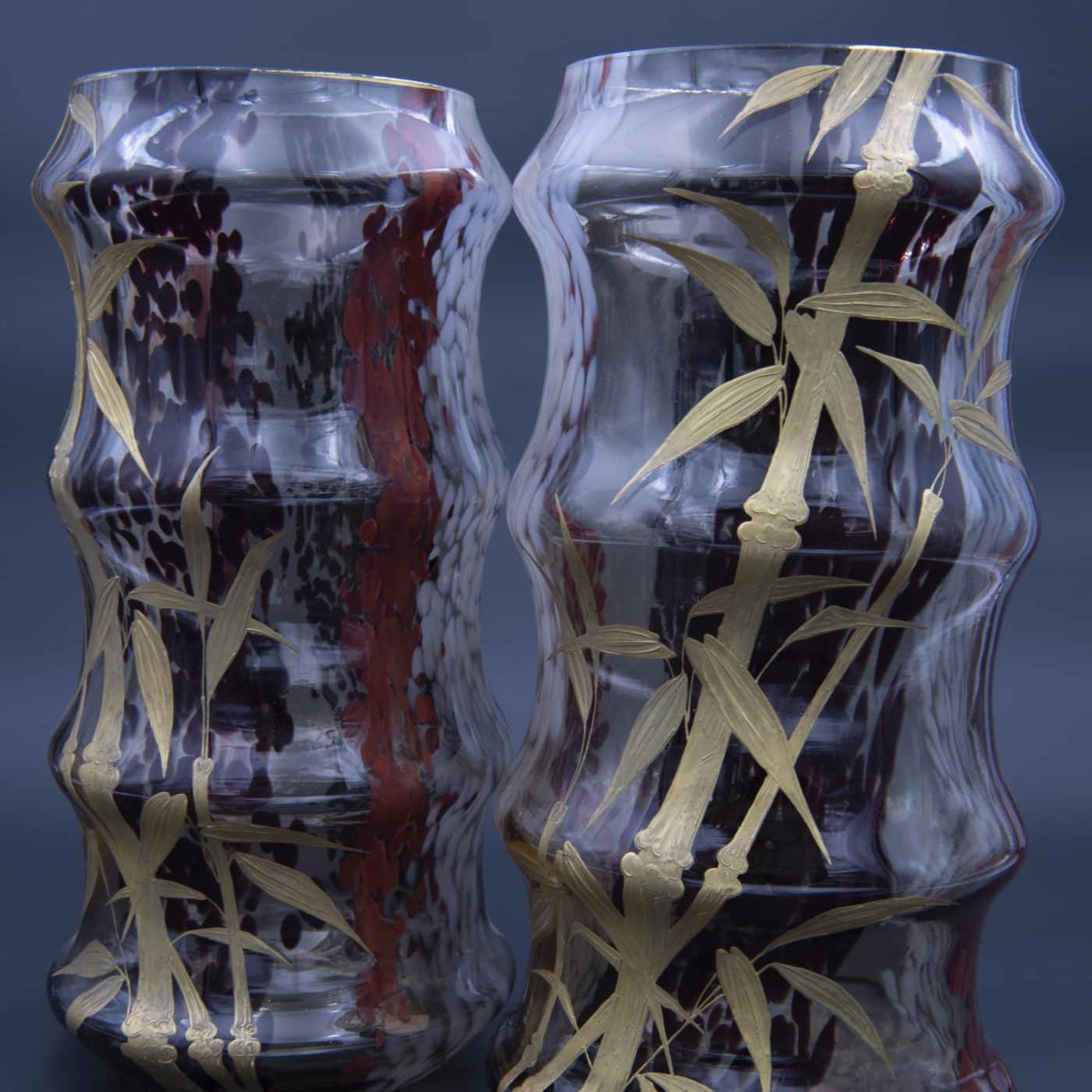 Paire de vases japonisants, Cristallerie de Saint-Denis, circa 1870