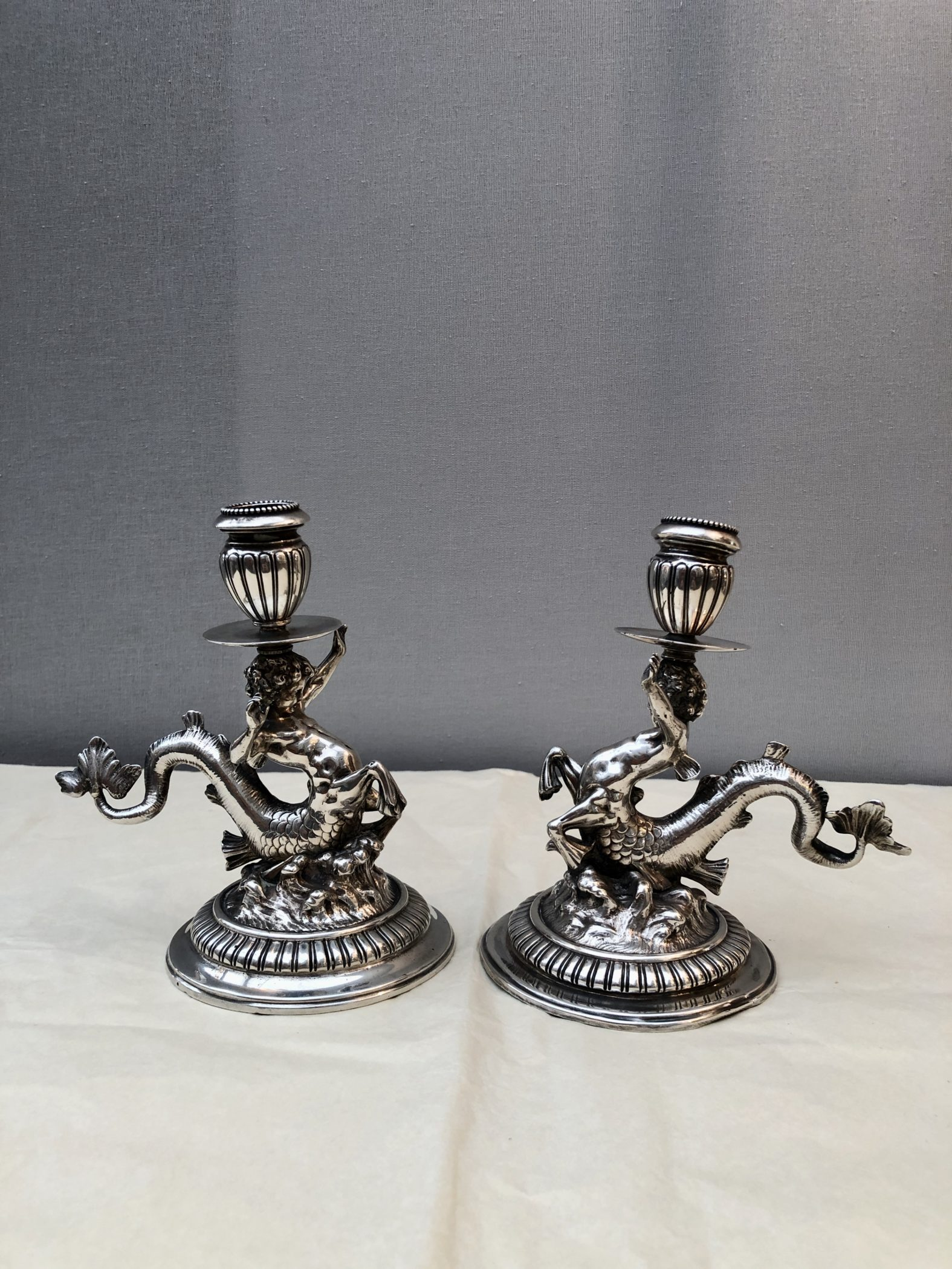 Pair of solid silver candlesticks, 19th century