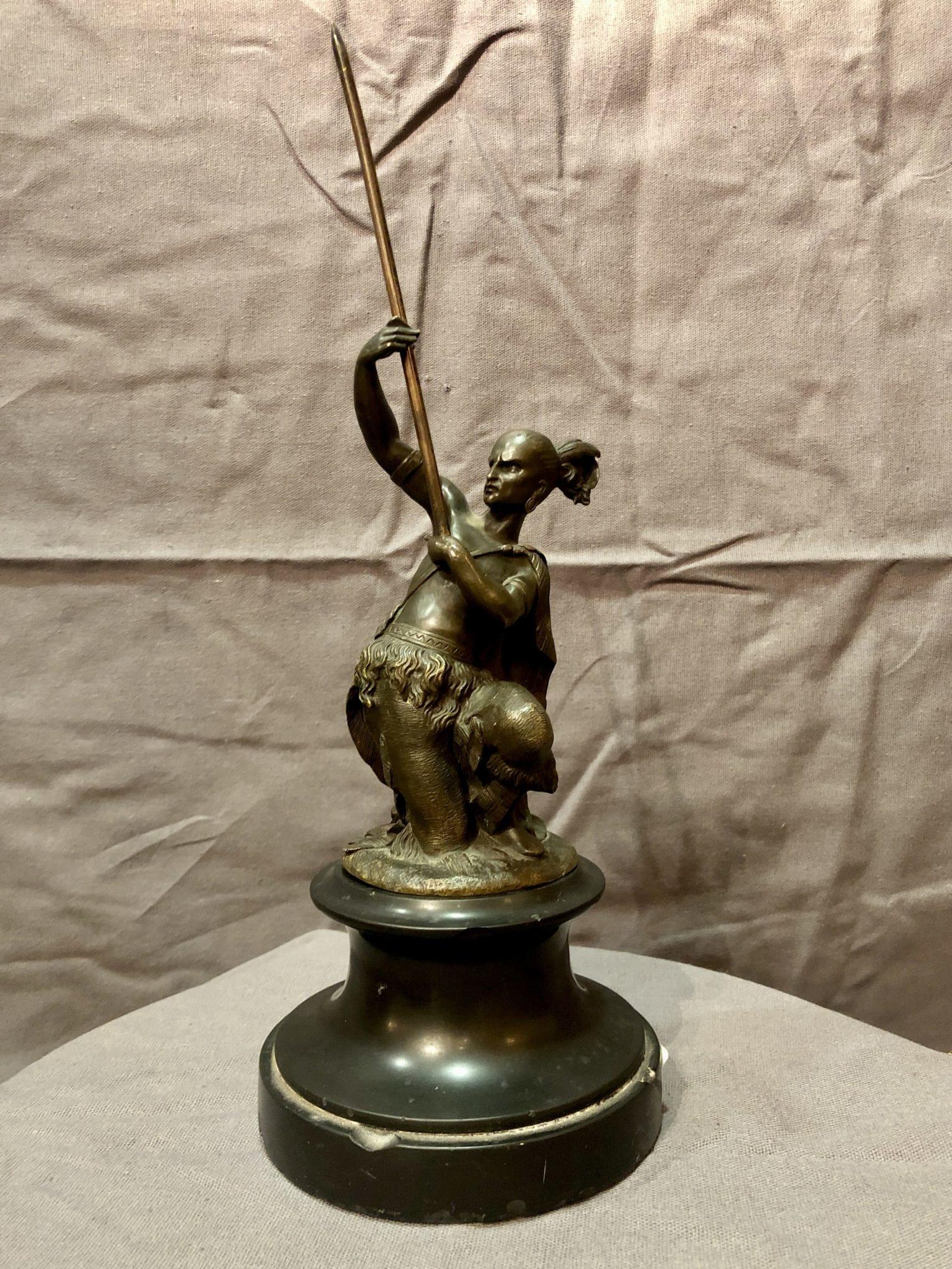 Bronze figurant un guerrier iroquois, XIXe siècle
