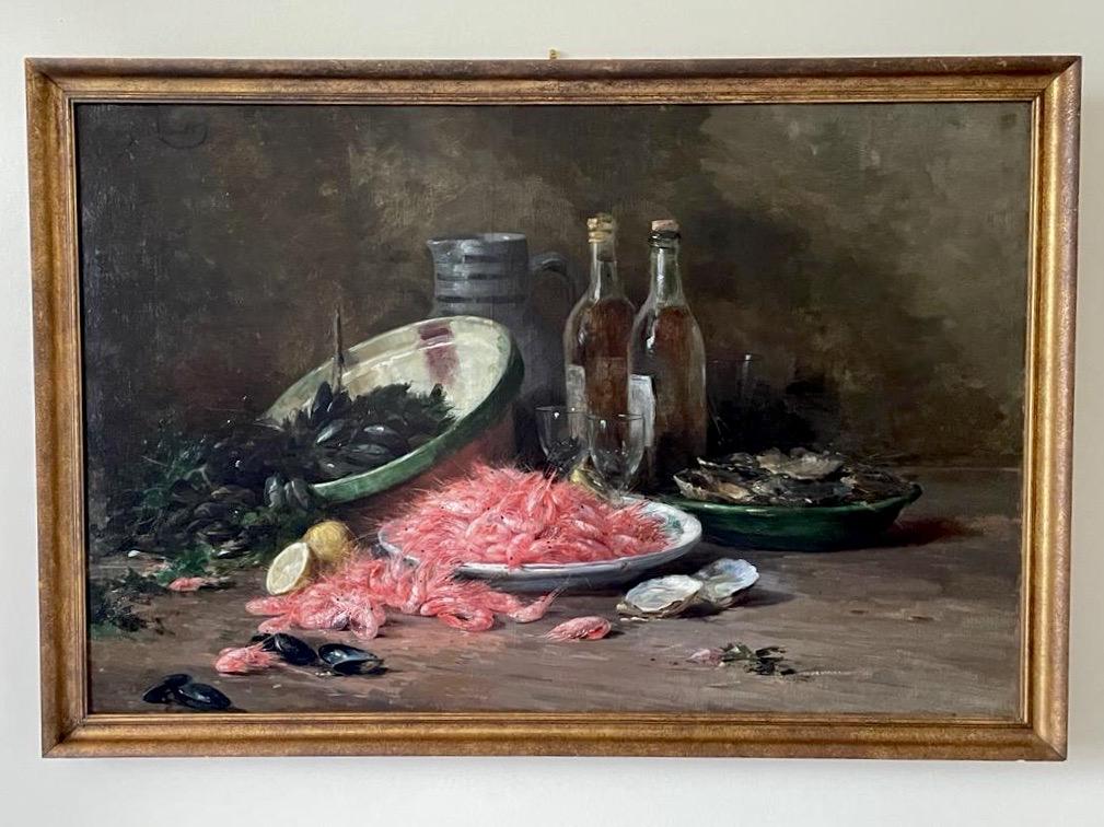 Retour de pêche, nature morte aux crevettes Albert Tibulle Furcy de Lavault (1847 - 1915)